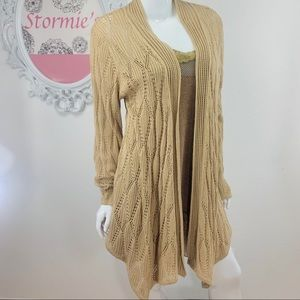 Jessica London / Tan Crochet Open Front Cardigan